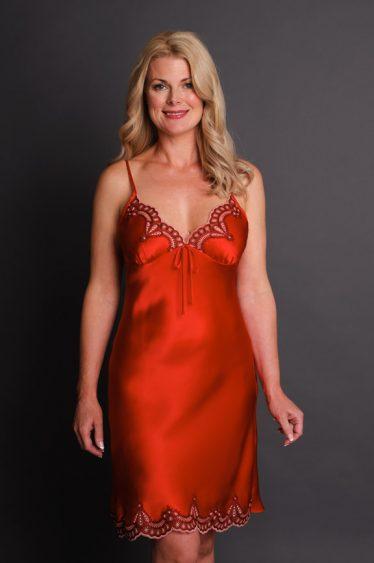Anais Silk Nightgown Red