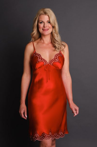 Anais Silk Nightgown Red
