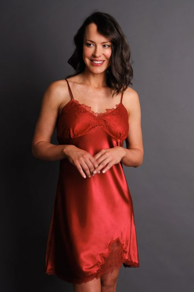Paloma Satin Nightgown Burgundy