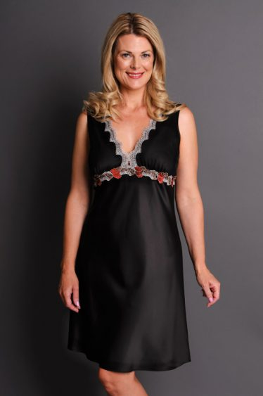 Impulse Satin Nightgown Black