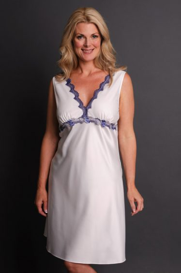Impulse Satin Nightgown front white blue