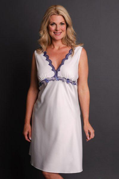 Impulse Satin Nightgown front white blue