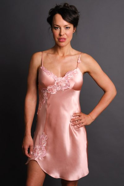 fantasy satin nightgown pink