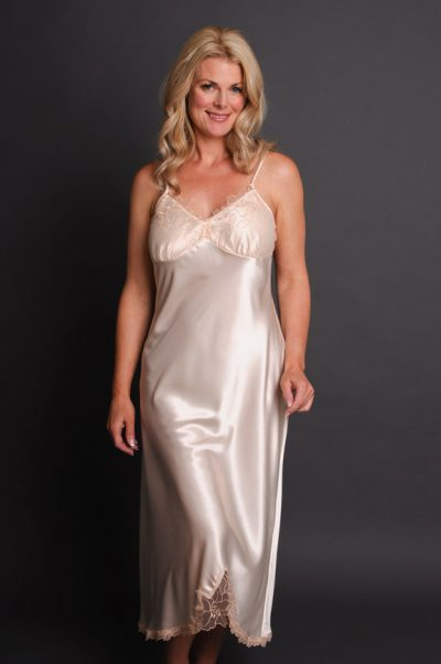 Paloma Long Satin Nightgown Front Cream