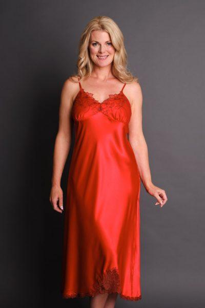 Paloma Long Satin Nightgown Red
