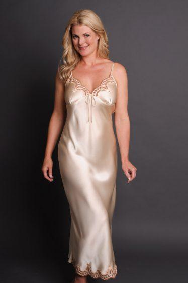 Anais Long Silk Nightgown Cream