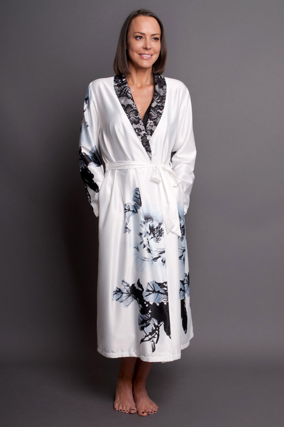 Paris Blanc Satin Calf Length Robe white front