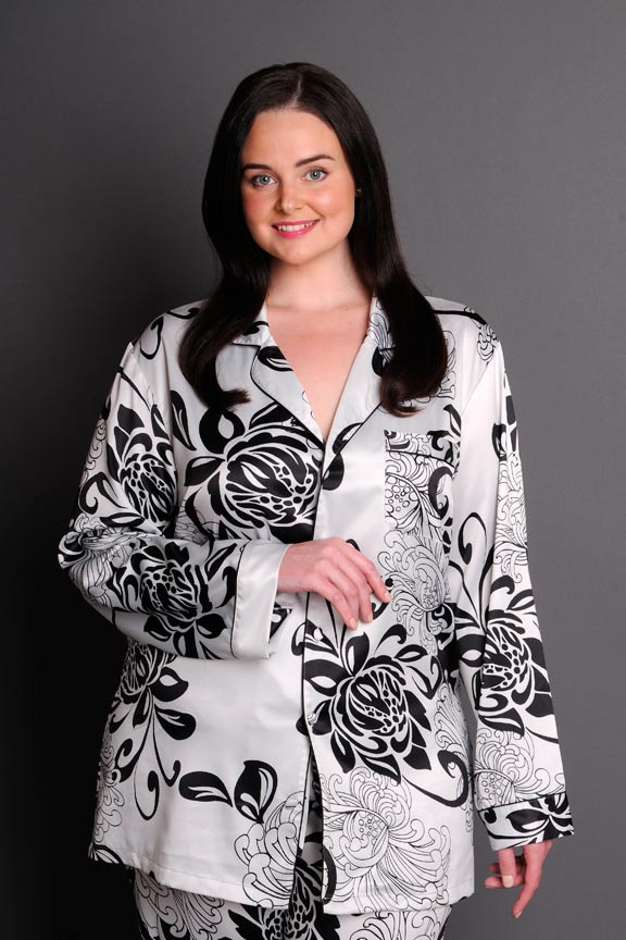 437a7a5854b Paris Noir satin plus size pyjamas front detail