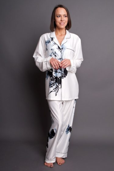 Paris Blanc Satin Pyjamas White Front