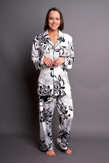 Paris Noir Satin Pyjamas Silver Black Front