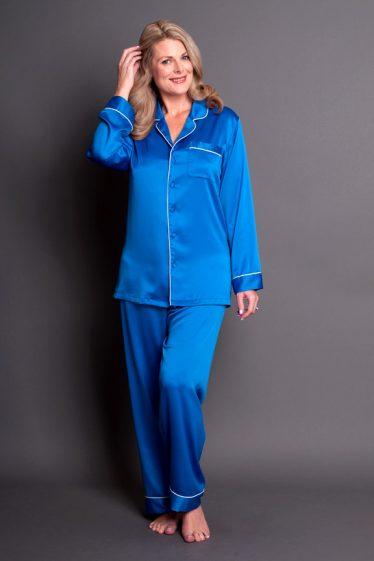 Simone Satin PJs Royal Blue Front