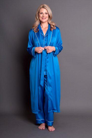Simone Satin Robe Royal Blue Front Open