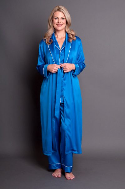 Simone Satin Robe Royal Blue Front Open