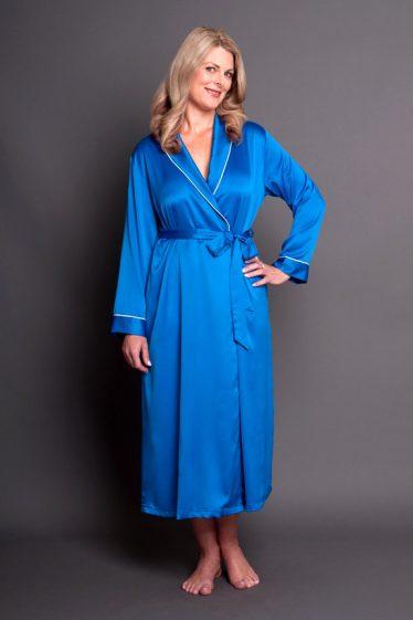 Simone Satin Robe Royal Blue Front Closed