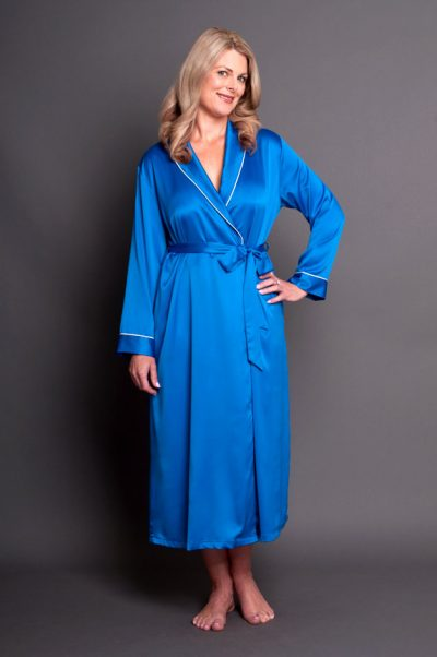 Simone Satin Robe Royal Blue Front Closed