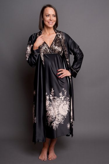 Angelique Robe Set with calf nightgown black front