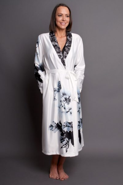 Paris Blanc Satin Calf Length Robe white front