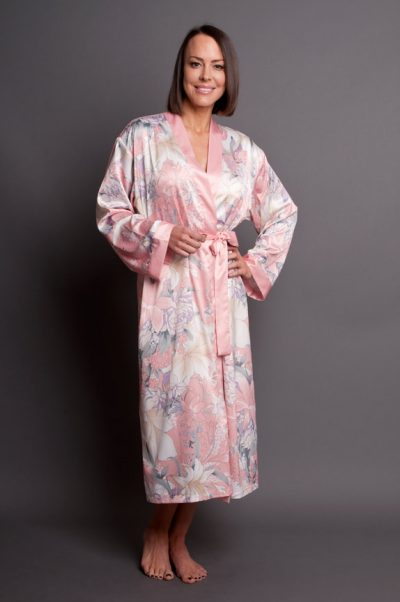 Nicolette Satin Calf Length Robe floral pink front closed