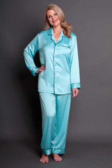 Bijou Satin Pyjamas Aquamarine Full Front