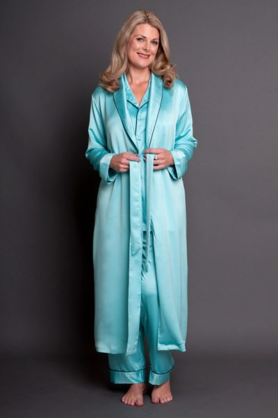 Bijou Satin Calf Length Robe Aquamarine Front Open