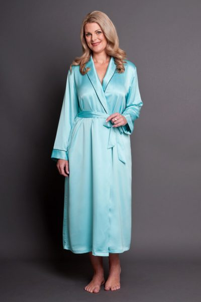Bijou Satin Calf Length Robe Aquamarine Front Closed