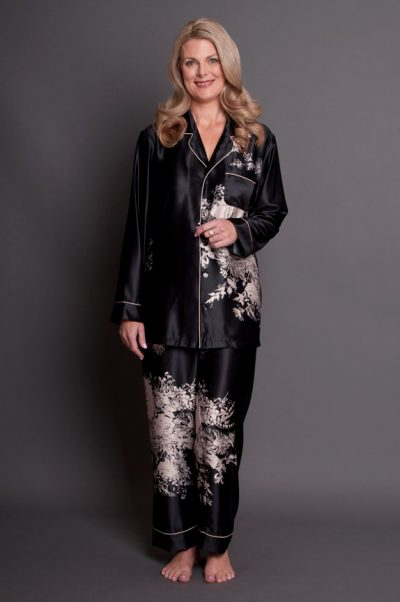Angelique Satin Pyjamas Black Gold Front