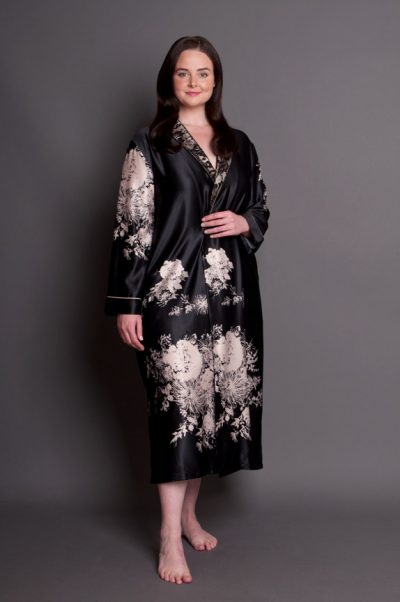 Angelique satin plus size robe button through