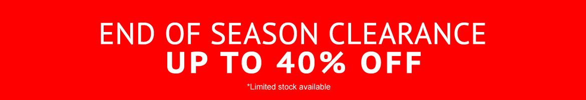 end of season clearance - up to 40% off