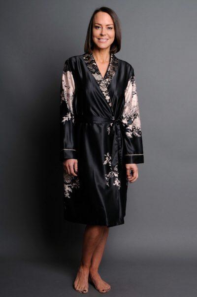 Angelique satin short robe