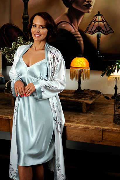 maxime satin knee length and nightie elise robe