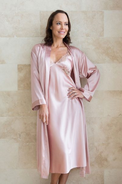 rendezvous satin nightie and robe set