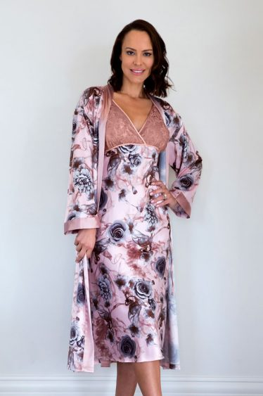 lacey satin robe and nightie set