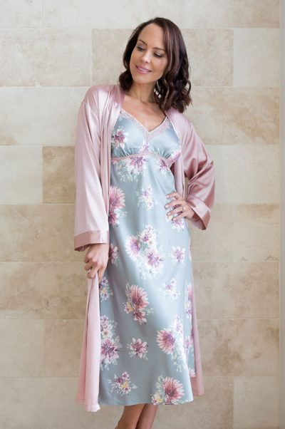 symphony long satin nightie and robe set