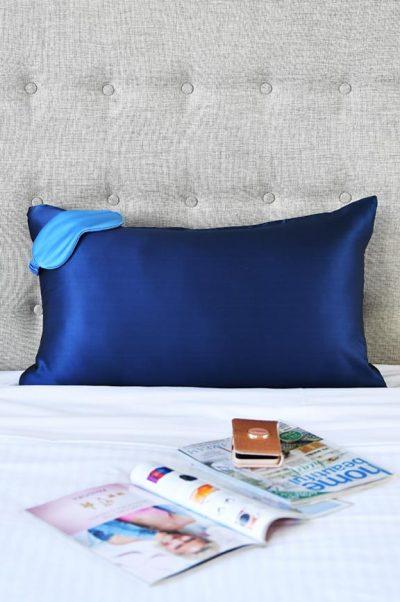 silk pillowcase navy