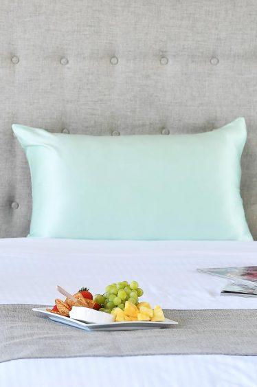 silk pillowcase pastel green