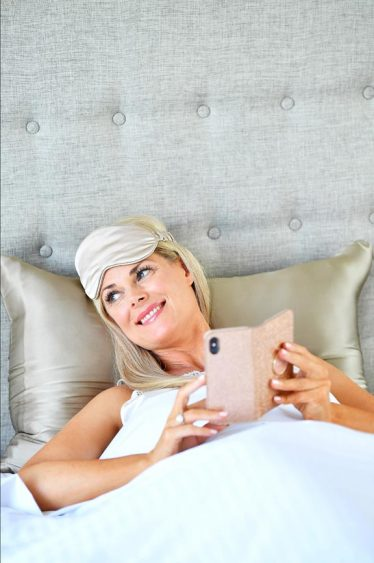 silk pillowcase and eye mask coffee