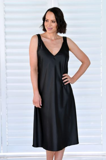Ava Long Satin Nightie Black