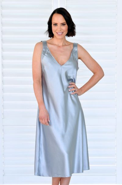 Ava Long Satin Nightie Silver Grey
