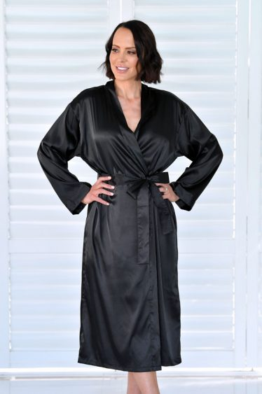 Ava Long Satin Robe Black