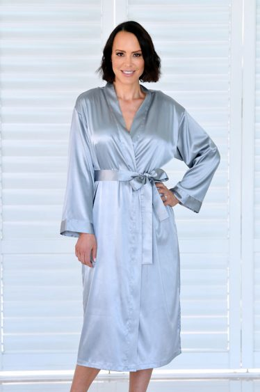 Ava Long Satin Robe Silver Grey