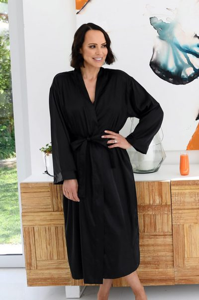 ava long satin robe and nightie set black