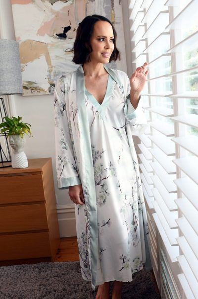 elise long satin robe nightie set