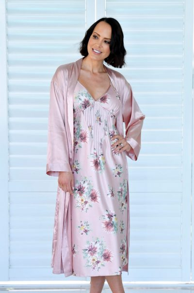 rendezvous long satin robe and tiana nightie set