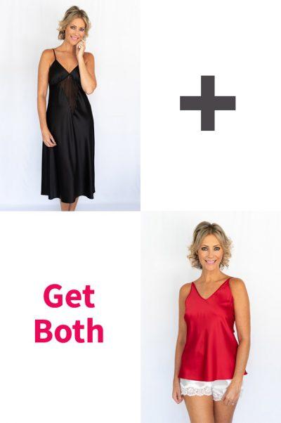 mimi silk nightie in black with mimi silk cami in red combo
