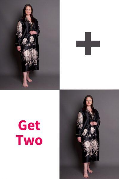 Angelique Plus Size Button Through Satin Robe Pair