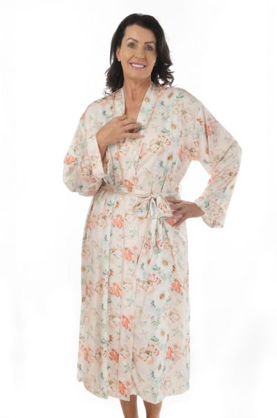 arianne long satin robe front