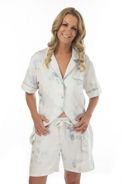 celeste short sleeve cotton pyjamas front