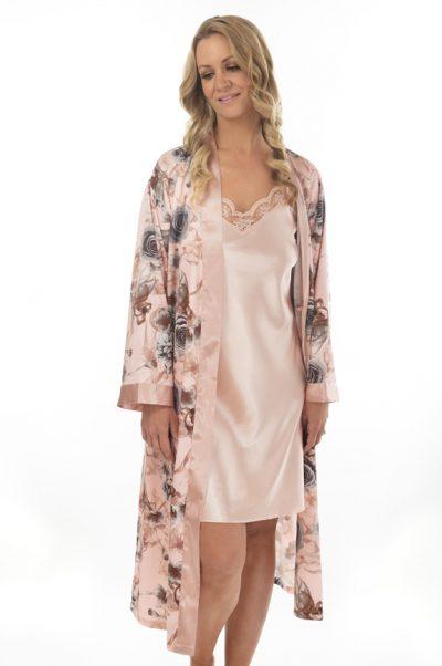 fleur short satin nightie front with robe